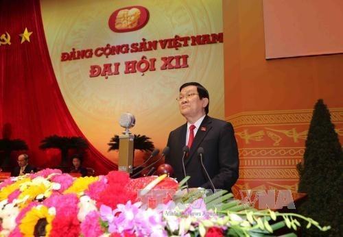 越共十二大发表开幕式的新闻公报 hinh anh 3