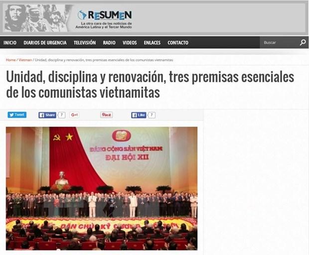 阿根廷媒体高度评价越共十二大结果 hinh anh 1