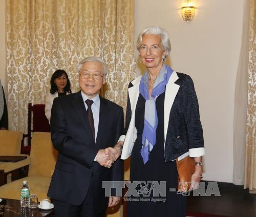越共中央总书记阮富仲会见国际货币基金组织总裁拉加德 hinh anh 1