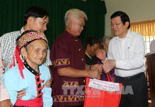 越南国家主席看望平福省禄宁边界县战士和同胞 hinh anh 2
