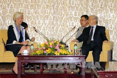 越共中央总书记阮富仲会见国际货币基金组织总裁拉加德 hinh anh 2