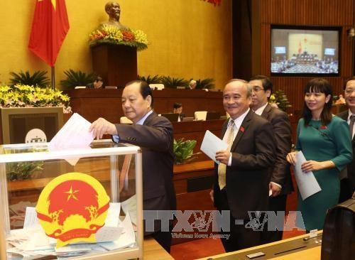 越南国会批准任命政府3位副总理和18位部长及其他成员职务 hinh anh 1