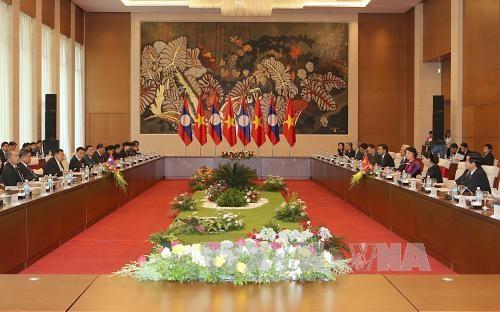 越南国会主席阮氏金银会见老挝人民革命党中央委员会总书记、国家主席本扬•沃拉吉 hinh anh 2