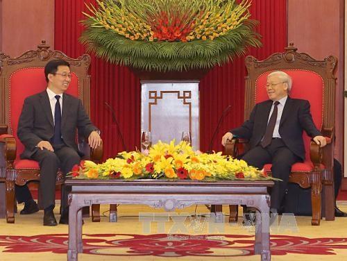 越共中央总书记阮富仲会见中国共产党代表团 hinh anh 2