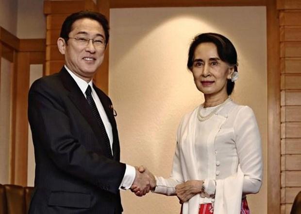 日本承诺为帮助缅甸发展国家提供77亿美元的援助 hinh anh 1