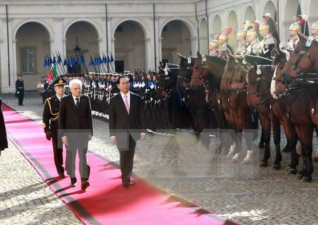 越南国家主席陈大光与意大利总统塞尔焦 • 马塔雷拉举行会谈 hinh anh 1