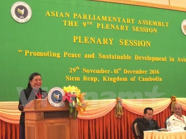 越南国会副主席丛氏放在亚洲议会大会第九届年会发表重要讲话 hinh anh 1