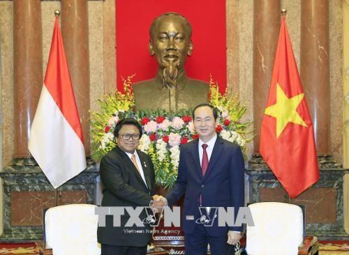 越共中央总书记阮富仲与越南国家主席陈大光会见印尼地方代表理事会主席乌斯曼 hinh anh 2