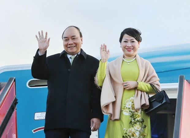 政府总理阮春福抵达哥本哈根出席P4G峰会和对丹麦进行正式访问 hinh anh 1