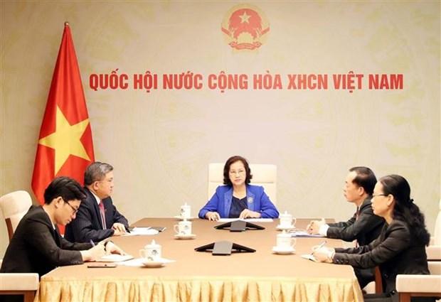 国会主席阮氏金银与老挝国会主席巴妮举行电话会谈 hinh anh 1