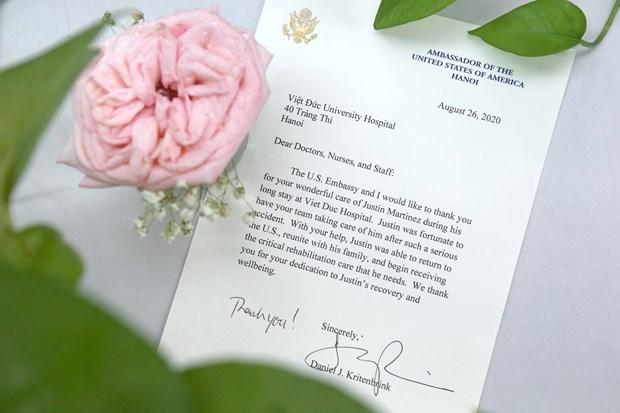 美国驻越南大使馆向越德友谊医院医护人员致感谢信 hinh anh 2