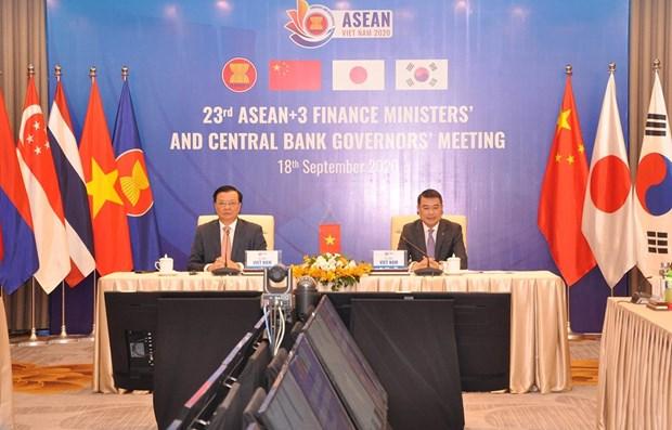 ASEAN+3就防控新冠肺炎疫情和经济复苏措施进行讨论 hinh anh 1