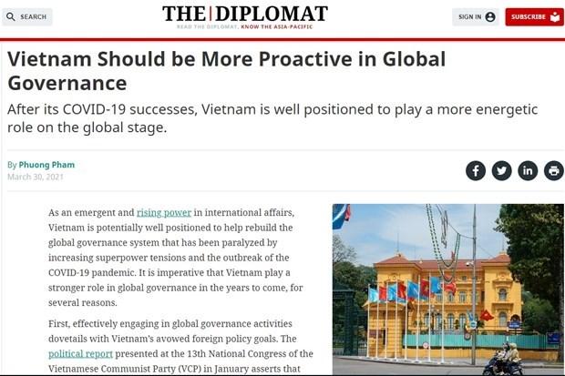 The Diplomat:参与全球治理体系将协助越南改善国际地位 hinh anh 1