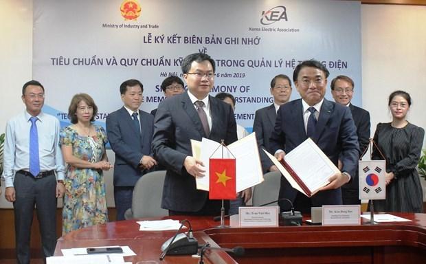 越南与韩国签署电力系统管理备忘录 hinh anh 1