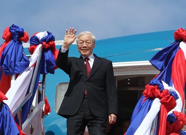 越共中央总书记阮富仲会见老挝国会主席巴妮·雅陶都 hinh anh 1