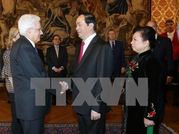 越南国家主席陈大光会见意大利总理马泰奥•伦齐 hinh anh 3