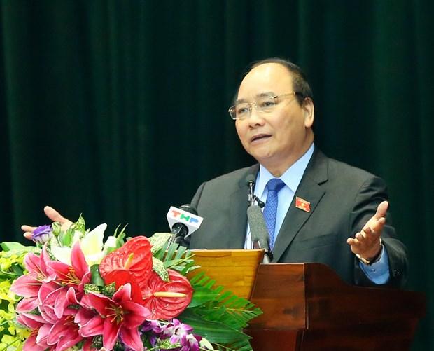 越南政府总理阮春福接触海防市海安郡选民 hinh anh 1