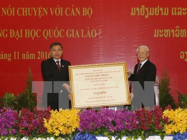越共中央总书记阮富仲在老挝国家大学发表重要讲话 hinh anh 4