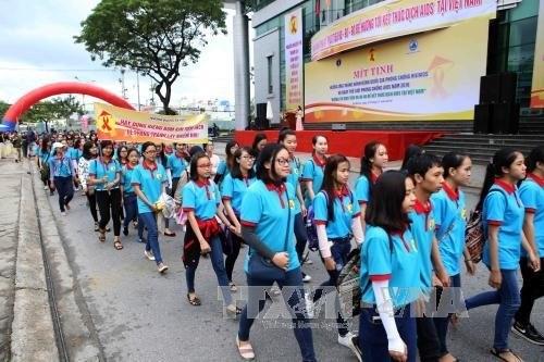 岘港市举行集会 响应世界艾滋病日 hinh anh 1
