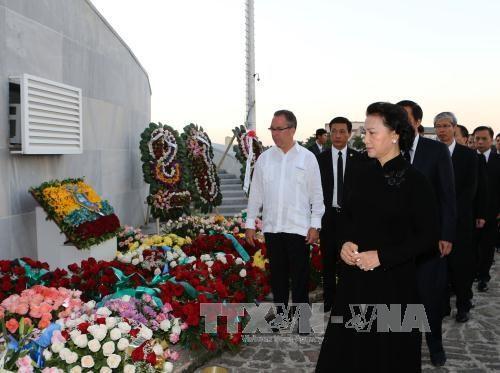 越南国会主席阮氏金银抵达古巴吊唁菲德尔·卡斯特罗·鲁斯 hinh anh 1