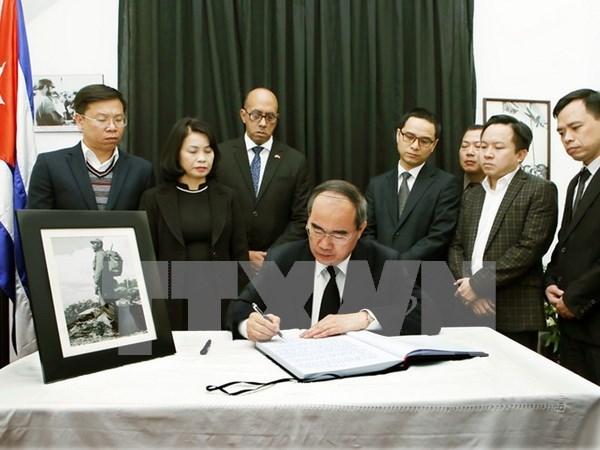 越南祖国阵线中央委员会主席阮善仁吊唁菲德尔·卡斯特罗·鲁斯 hinh anh 1