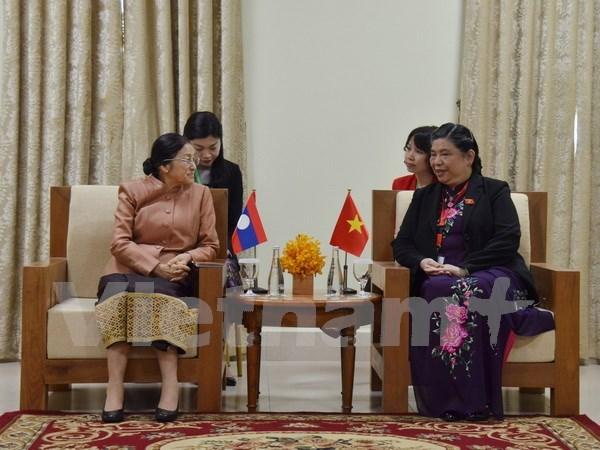 国会副主席丛氏放在金边与老挝国会主席巴妮•雅陶都进行双边会晤 hinh anh 1