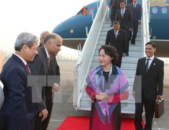 越南国会主席阮氏金银抵达新德里开始对印尼进行正式访问 hinh anh 1
