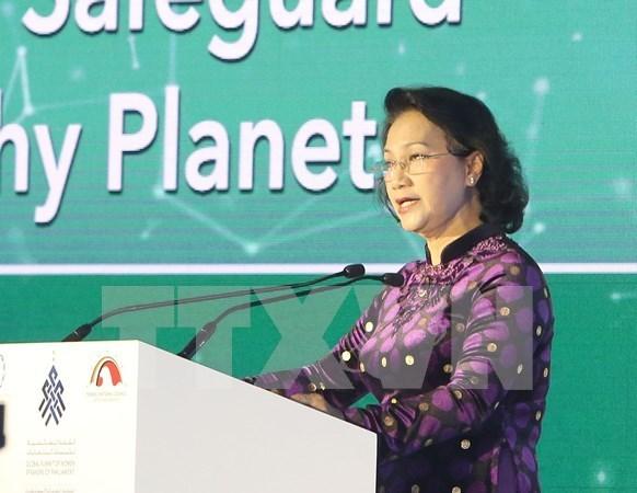 """越南国会主席阮氏金银在""""团结维护一颗健康的星球""""讨论会上发言 hinh anh 1"""