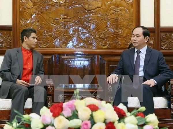 越南国家主席陈大光会见东帝汶驻越南大使 hinh anh 1