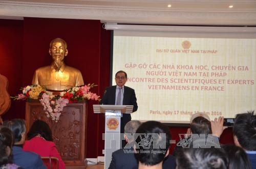 越南驻法大使馆举行旅法越南专家、科学家与社会活动家见面会 hinh anh 1