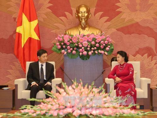 国会主席阮氏金银会见韩国和伊朗驻越大使 hinh anh 1
