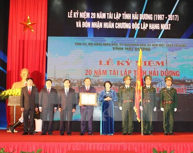 阮氏金银主席出席海阳省重建20周年庆典 hinh anh 1