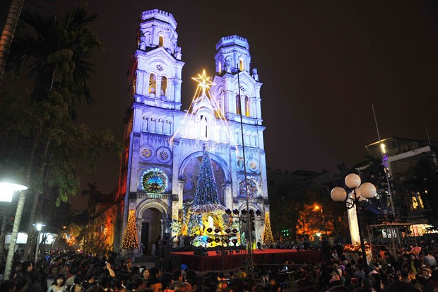 越南全国各地洋溢着圣诞气氛 hinh anh 1