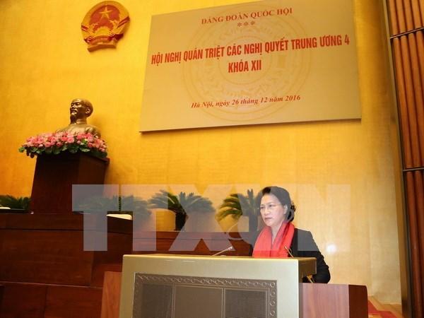 越南国会党组贯彻落实越共十二届四中全会决议 hinh anh 1