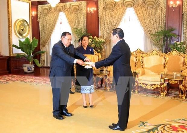 越南驻老挝大使向老挝国家主席递交国书 hinh anh 1