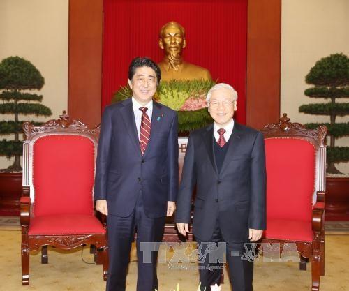 越共中央总书记阮富仲会见日本首相安培晋三 hinh anh 1