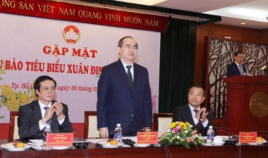 越南祖国阵线中央委员会举行旅外模范越侨代表见面会 hinh anh 1