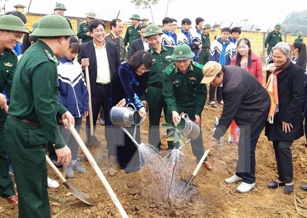 邓氏玉盛副主席出席和平省 2017丁酉年新春植树节启动仪式 hinh anh 1