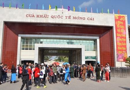 春节期间大量游客游览芒街市 hinh anh 1