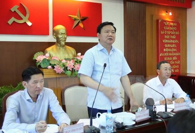 胡志明市委书记丁罗升与第二郡及第九郡郡委领导举行工作会谈 hinh anh 1