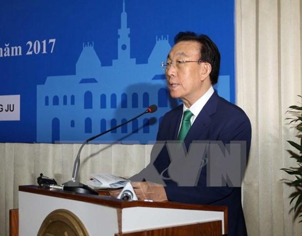 胡志明市领导会见韩国庆尚北道省知事 hinh anh 1