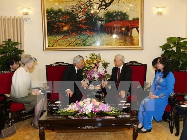 越共中央总书记阮富仲亲切会见日本天皇明仁和夫人 hinh anh 1