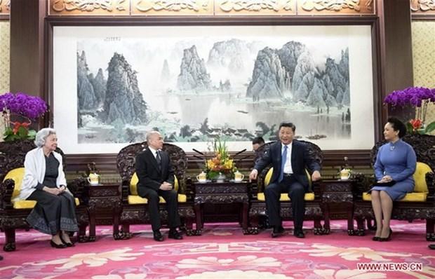 中国国家主席习近平会见柬埔寨国王西哈莫尼 hinh anh 1