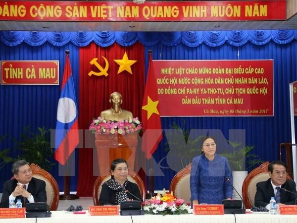 老挝国会主席对越南金瓯省进行访问 hinh anh 1