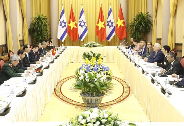 越南国家主席陈大光与以色列总统鲁文•里夫林举行会谈 hinh anh 1