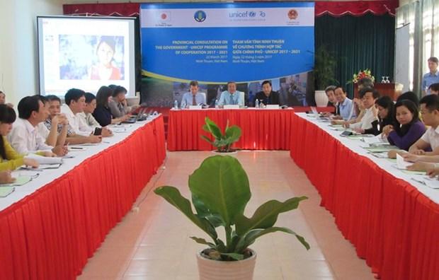 越南宁顺省与联合国儿童基金会加强减轻自然灾害合作 hinh anh 1