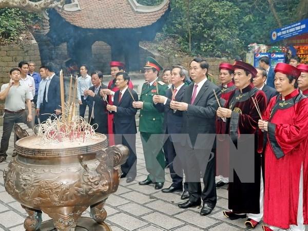越南国家主席陈大光出席2017年雄王始祖祭祀典礼 hinh anh 1