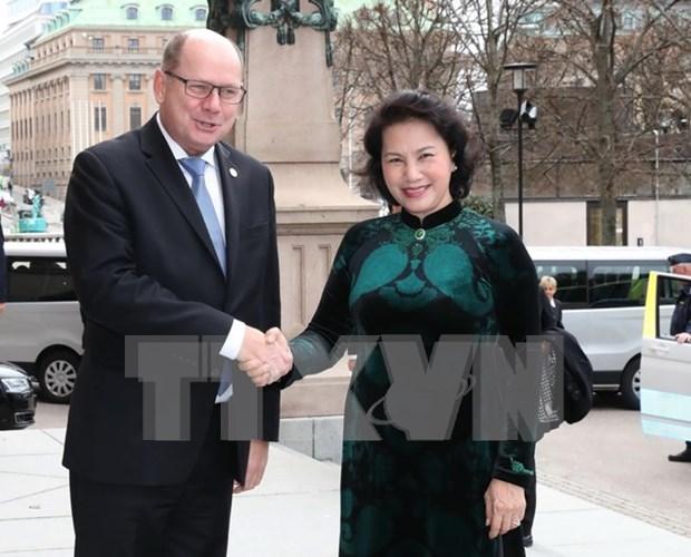 越南国会主席阮氏金银同瑞典议会议长乌尔班·阿林举行会谈 hinh anh 1