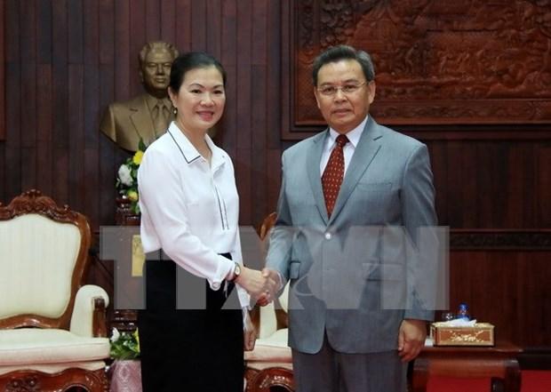 越南祖国阵线与老挝建国阵线合作 加大2017年各大事件宣传力度 hinh anh 1