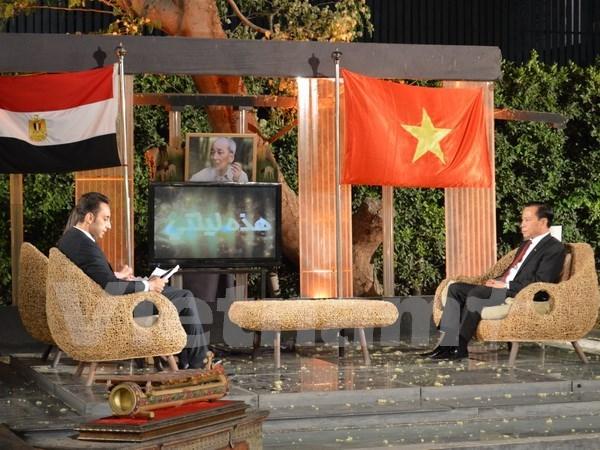 介绍胡志明主席事业生涯和越南风土人情节目在埃及国家电视台直播 hinh anh 1